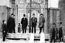 Architect Adolf Cluss on the construction site of the National Museum, 1880
